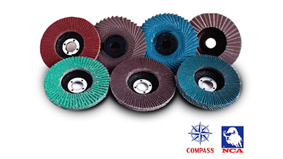 "Solimac group จานทราย ผ้าทราย กระดาษทราย ""COMPASS"" และ ""NCA"" Abrasives Flap Disc"