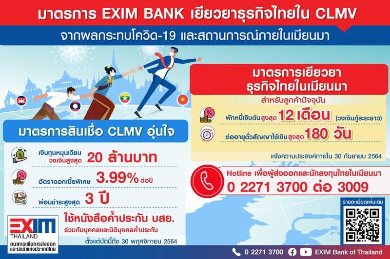 EXIM BANK ออกมาตรการเยียวยาธุรกิจไทยใน CLMV จากผลกระทบโควิดและสถานการณ์ในเมียนมา