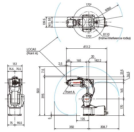 หุ่นยนต์อุตสาหกรรม-NACHI-MZ01-ขนาดและพื้นที่การทำงาน