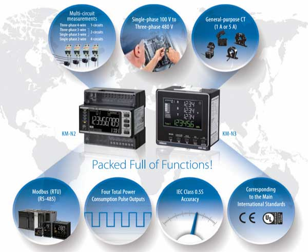 Sumipol presents Power Monitor KM-N2 / KM-N3 Multi-circuit Power Monitors for Energy Management From Omron